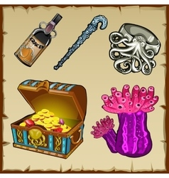 Underwater world objects and chest with gold vector