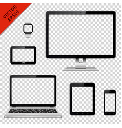 various modern electronic devices with transparent vector image