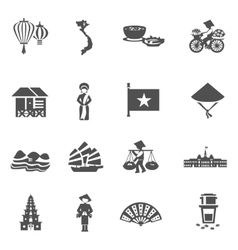 Vietnamese Black White Icons Set vector image