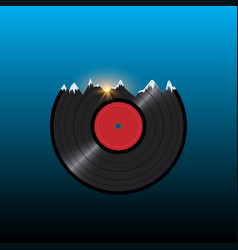 Vinyl disk record in shape snow mountains with vector