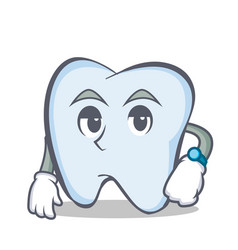 Waiting tooth character cartoon style vector