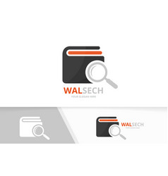 wallet and loupe logo combination purse vector image