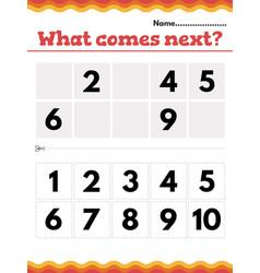 What number comes next math preschool vector