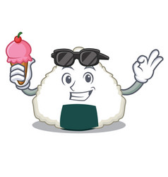 With ice cream onigiri character cartoon style vector