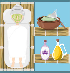 woman in wood room with product in the face vector image