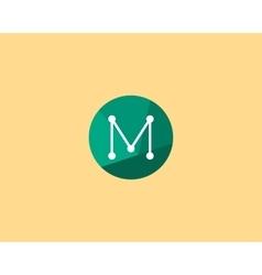 Abstract letter m logo design template dot line vector