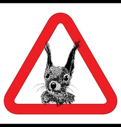 Animal free sign warning squirrel zone vector image vector image