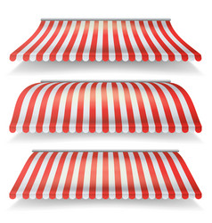 classic red and white awning set realistic vector image