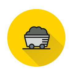 coal mine wagon icon on round background vector image vector image