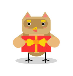 Cute cartoon owl bird character in geometric shape vector