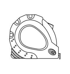 monochrome line contour of tape measure tool vector image