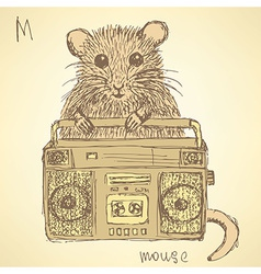Sketch fancy mouse in vintage style vector image vector image