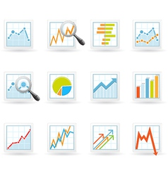 Statistics and analytics icons vector image vector image