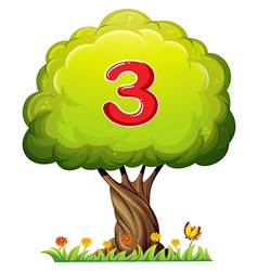A tree with a number three figure vector image vector image