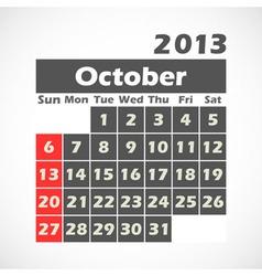 Calendar 2013 October vector image