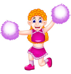 cute cheerleading cartoon action with smile vector image