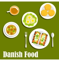 Danish national cuisine dishes and sandwiches vector image vector image