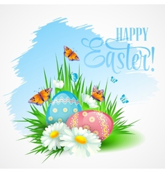 Easter greeting card with daisies and eggs vector image vector image