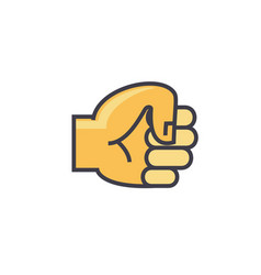 Fist hand concept line icon editable vector