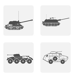 monochrome icon set with military artileriya vector image