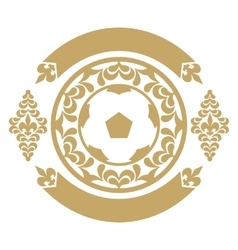 Gold retro the card or an emblem with a soccerball vector image
