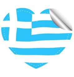heart shape sticker for greece flag vector image vector image