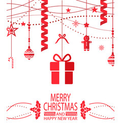 merry christmas and happy new year bright postcard vector image