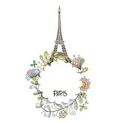 paris eiffel tower with a floral design vector image