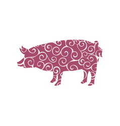 pig farm mammal color silhouette animal vector image