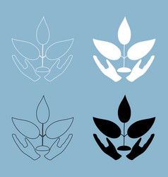 plant and hand the black and white color icon vector image vector image