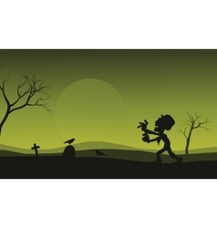 Silhouette of Halloween zombie and crow scary vector image