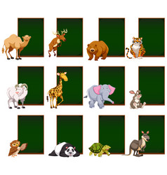 blank chalkboard with wild animals vector image