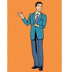 Businessman presentation gesture hands business vector image