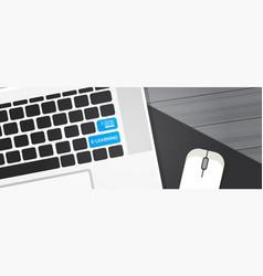 elearning key on laptop computer keyboard online vector image vector image