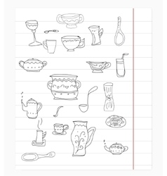 Kitchen equipment isolated hand drawn doodle vector image