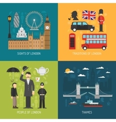 London concept 4 flat icons square vector