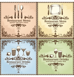 restaurant cutlery and drinks set vector image
