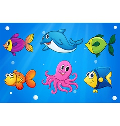 Sea creatures under the sea vector image vector image