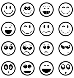 Smiley faces icons set vector image vector image