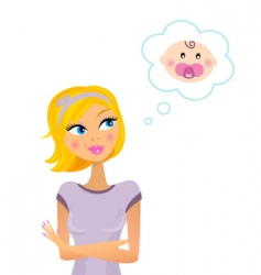 woman dreaming about baby vector image vector image