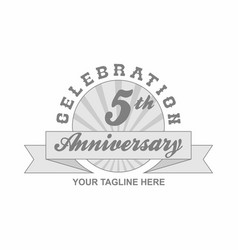 5 th anniversary grey shine background vector
