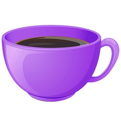 A purple cup with coffee vector