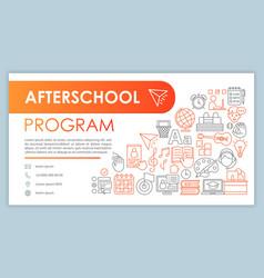 Afterschool program banner business card template vector