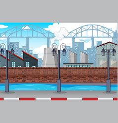 An urban factory scene vector