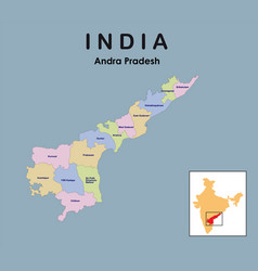 Andhra pradesh district map with colour andhra vector