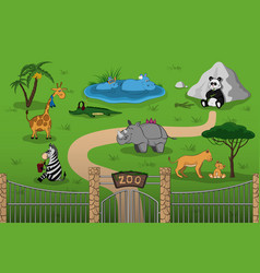 animals of zoo in cartoon style vector image