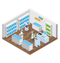 Automated shop isometric composition vector