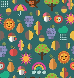 autumn symbols seamless pattern vector image