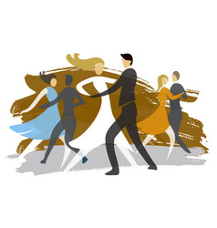 ballroom dancing couples expressive stylized vector image