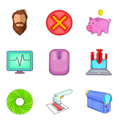 banking app icons set cartoon style vector image